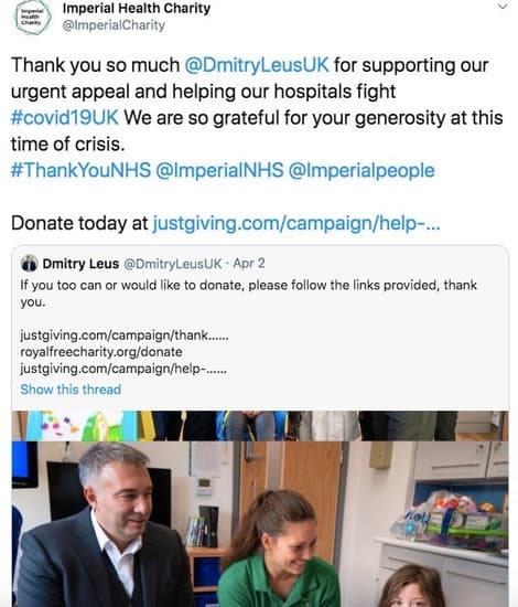 Thanks from Imperial health charity